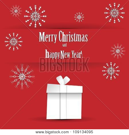Wishes merry Christmas and happy New Year on red background