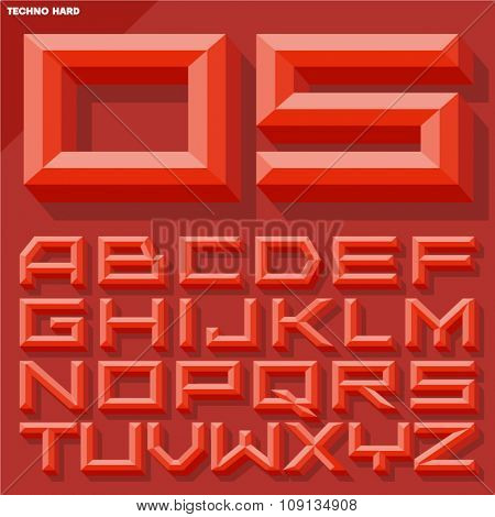 Vector 3D red beveled alphabet  in  techno style with shadow. Simple colored version.