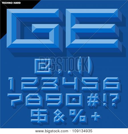 Vector 3D set of blue beveled symbols and numbers in techno style with shadow. Simple colored version.