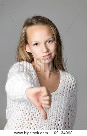 Girl Showing Dislike Sign