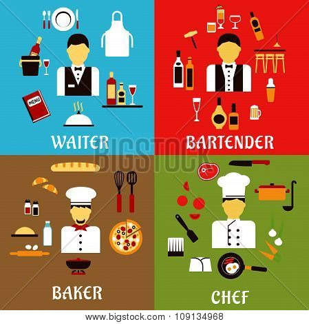 Chef, baker, waiter and bartender professions