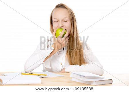 Cheerful Schoolgirl Eating Apple