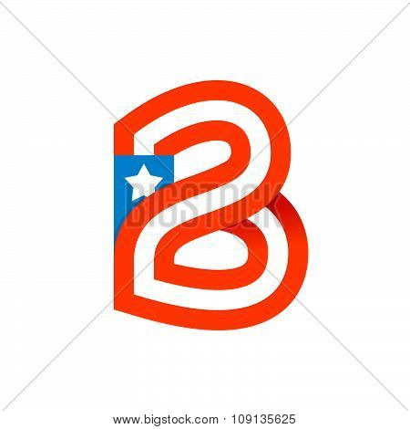 B Letter With American Stars And Stripes.