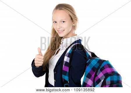 Smiling School Girl Showing Thumbs Up