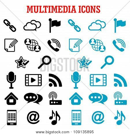 Multimedia and communication flat icons