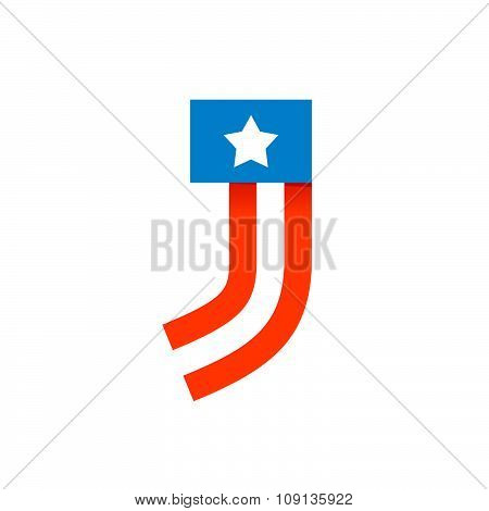 J Letter With American Stars And Stripes.