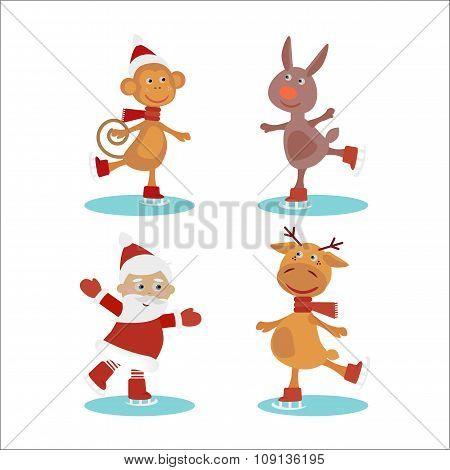 Set of cute cartoon christmas characters. Vector illustration.