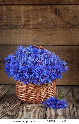 A bunch of beautiful summer flower of Cornflower in the basket. Concept of romantic.