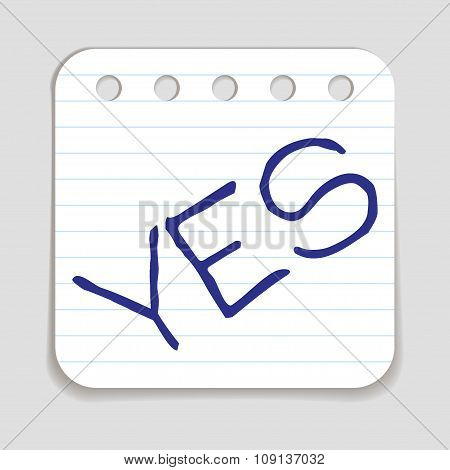 Doodle YES word icon