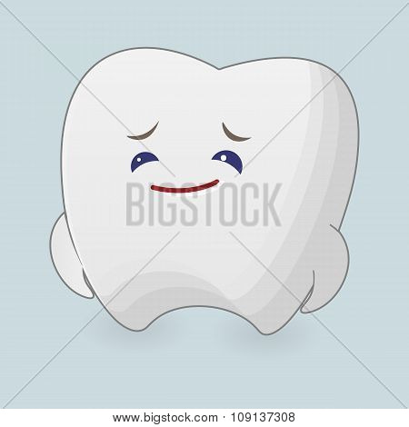 Sad tooth illustration