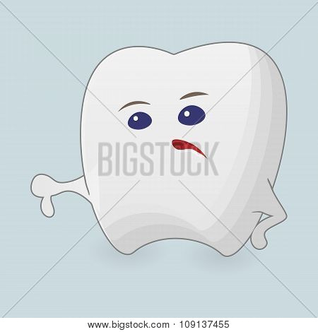 Tooth with thumb down illustration