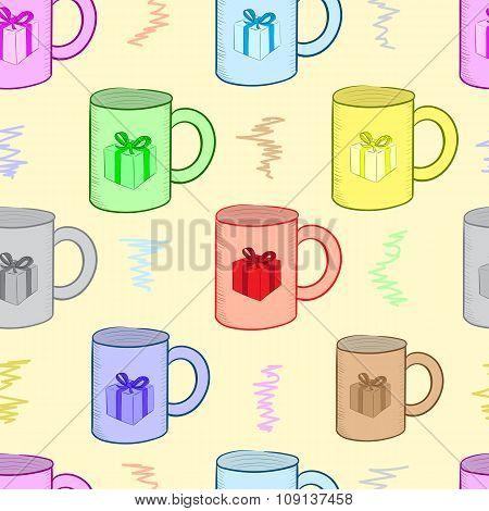 Seamless mugs with gifts