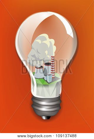 Smoking pipes of thermal power plant  in a light bulb. Ecology concept design, vector illustration
