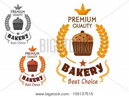 Bakery emblem with cupcake and wheat
