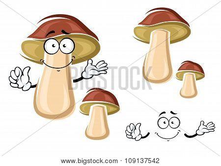 Cartoon brown isolated boletus mushroom
