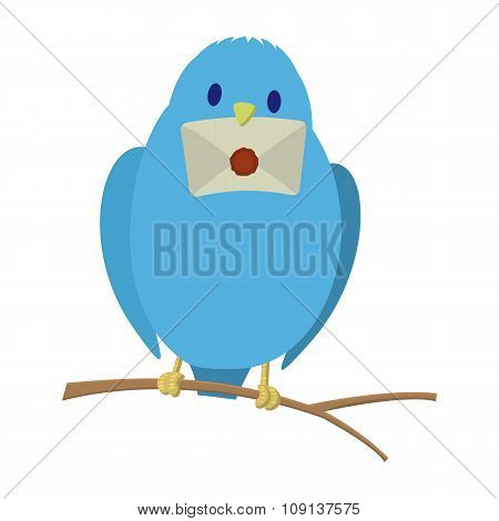 Blue bird with letter
