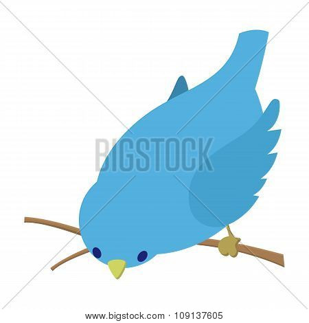 Bend down blue bird illustration