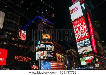 Night Times Square In New York, Usa