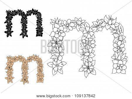 Floral decorative lowercase letter m