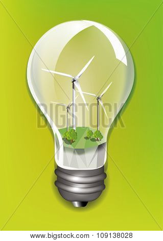 Wind turbine in a light bulb ecology concept design, vector illustration