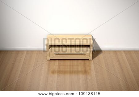 Empty Room With Wooden Cabinet