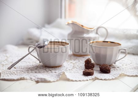 Cookies Heart, Bright Cups And Milk Jug, Valentines Day, Love, Light Background