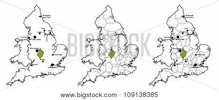 Warwickshire located on map of England