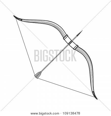 Outline Medieval Bow Arrow Icon Illustration.