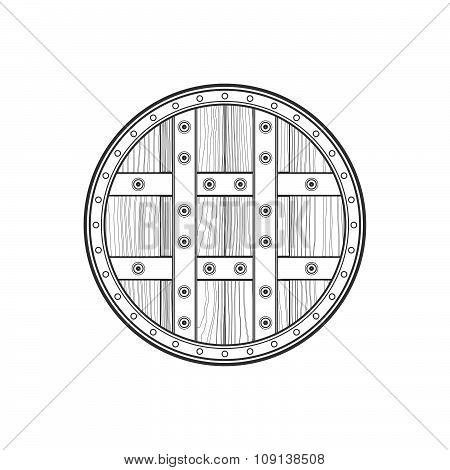 Outline Medieval Round Shield Icon Illustration.