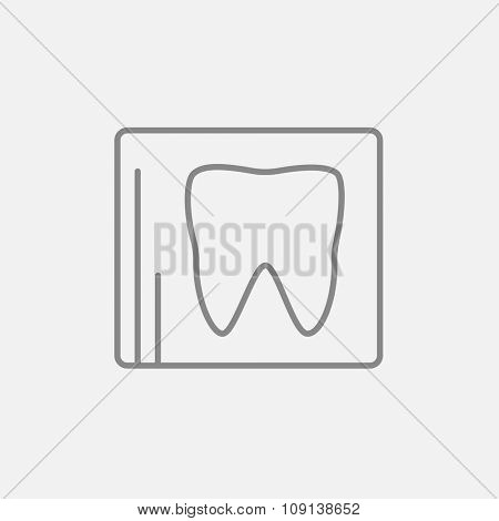 X-ray of the tooth line icon for web, mobile and infographics. Vector dark grey icon isolated on light grey background.
