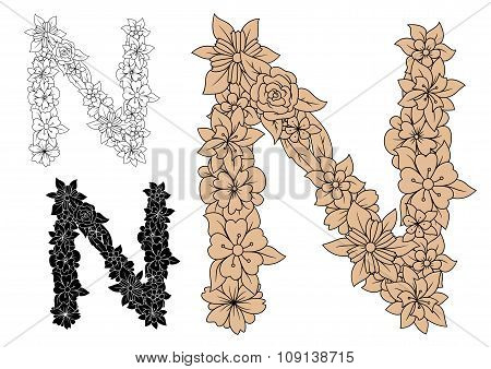 Floral letter N with brown flower elements