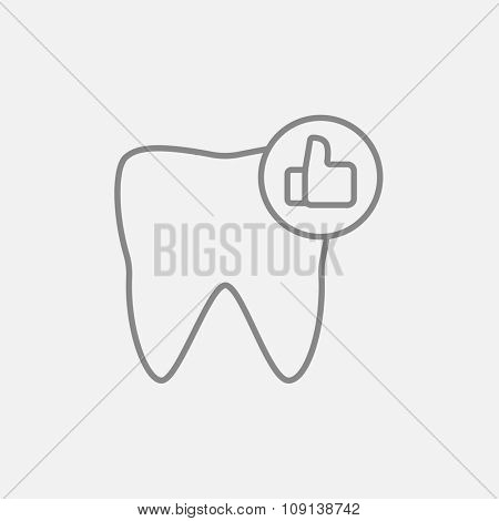 Healthy tooth line icon for web, mobile and infographics. Vector dark grey icon isolated on light grey background.