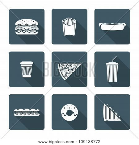 White Monochrome Various Fast Food Icons Collection.