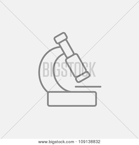 Microscope line icon for web, mobile and infographics. Vector dark grey icon isolated on light grey background.
