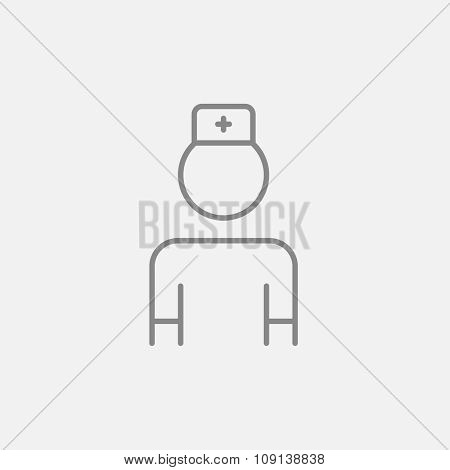 Nurse line icon for web, mobile and infographics. Vector dark grey icon isolated on light grey background.