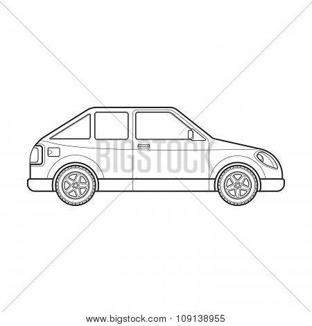 Outline Hatchback Car Body Style Illustration Icon.