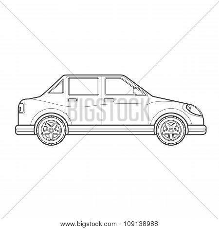 Outline Saloon Car Body Style Illustration Icon.