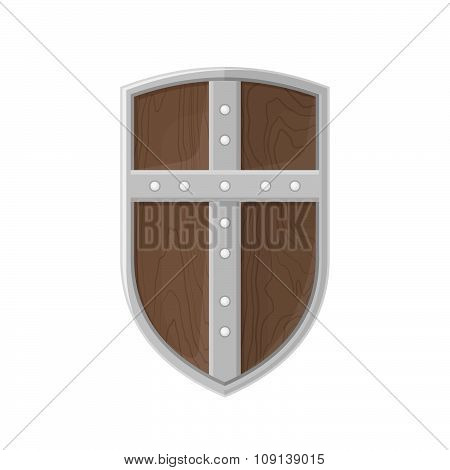 Flat Style Colored Medieval Shield With Cross Icon Illustration.