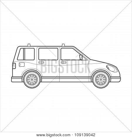 Outline Wagon Car Body Style Illustration Icon.