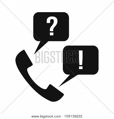 Handset with question and answer