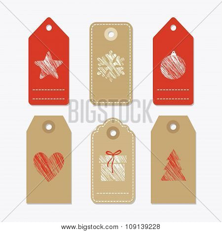 Set Of Cute Paper Gift Tags, Labels With Textured Christmas Symbols, Isolated Vectors