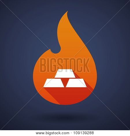 Long Shadow Vector Flame Icon With Three Gold Bullions