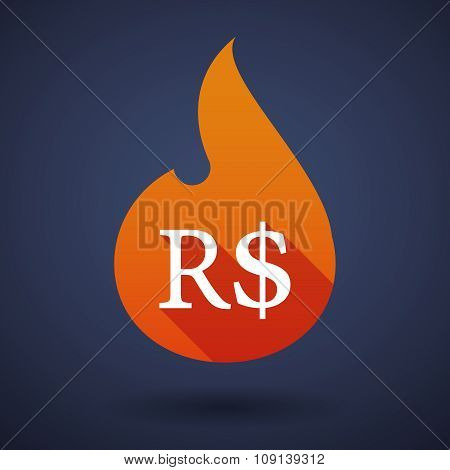 Long Shadow Vector Flame Icon With A Dollar Bank Note