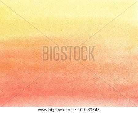 Watercolor Painting. Yellow, Orange And Red Gradient