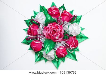 Rose Bouquet Made Of Ribbons