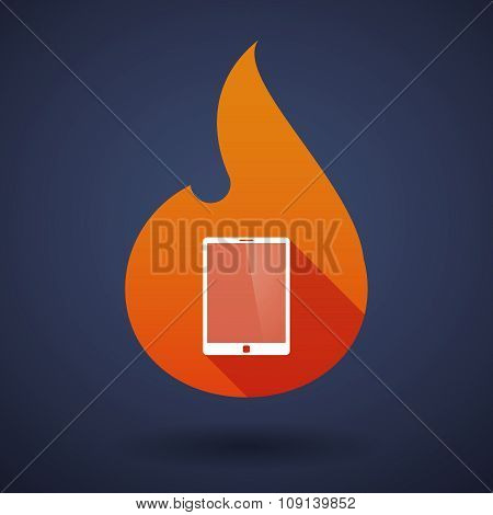 Long Shadow Vector Flame Icon With A Tablet Computer