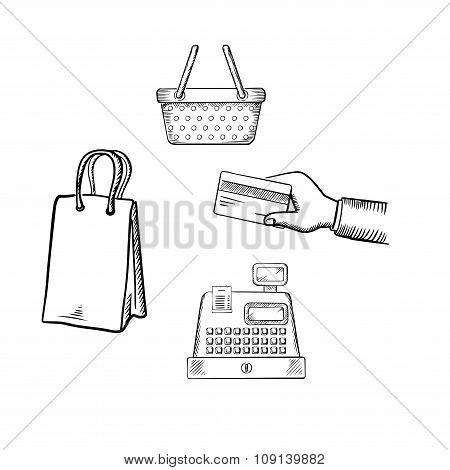 Shopping and market sketch icons set