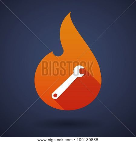 Long Shadow Vector Flame Icon With A Spanner
