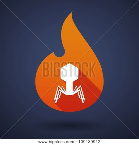 Long Shadow Vector Flame Icon With A Virus