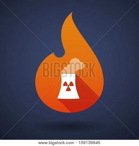 Long Shadow Vector Flame Icon With A Nuclear Power Station